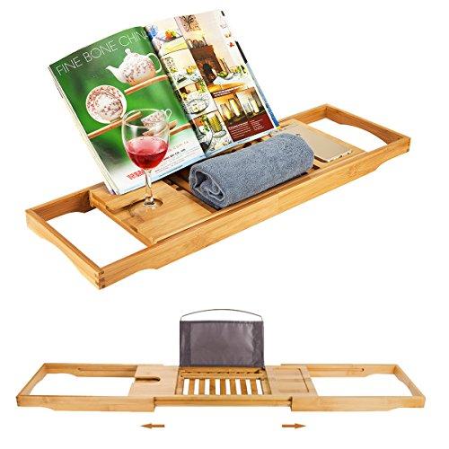 Witasm Badewannentisch Badewannentablett ausziehbar Badewannenbrett mit Buchstütze - Badewannenablage Bambus - Badewanne Caddy Tablett 104 x 22 x 4,1cm