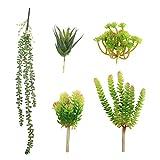 LJY confezione da 5assortiti misti composizioni floreali artificiale Accent Unpotted strutturato Faux Succulent pick falso filo di perle piccole piante set