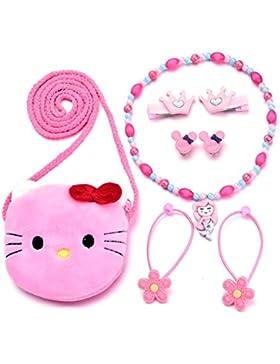 Kleine Mädchen Plüsch Cartoon Tasche Halskette Ohrringe Haargummis Haarspangen Schmuck Set