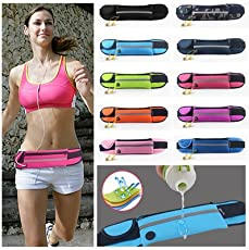 Satya Mart Sports Running Waist Belt (1 Major 2 Minor Pouches)- Adjustable Running Belt Waist - ADJ Fanny Pouch for Runners Color May Vary