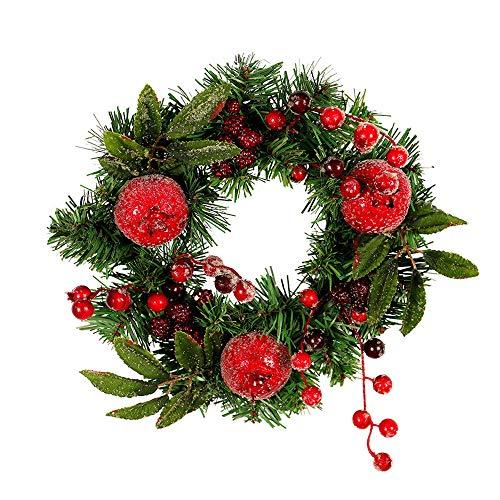 Wokee Weihnachtskranz 30cm Granatapfel Obst Tür Kranz Tür Wand Ornament Weihnachtsfeier Dekoration Adventskranz aus PVC mit Lebendige und schöne Einrichtung