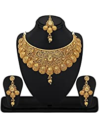 Aabhu Gold Plated Antique Kundan Necklace Set With Mang Tikka Ear Rings Jewellery For Women And Girls