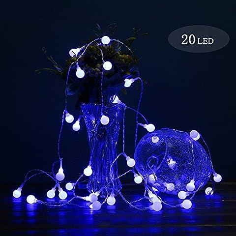 Kugel Lichterkette, Morbuy 2m Kugel Lichterkette Kugel 1.8cm 3AA Batterie 20 LED Lichterkette Festlich Hochzeiten Geburtstag Party Lichterketten (Blau)