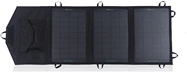 """SUNKINGDOMâ""""¢ 10.5W Foldable Solar Panel Charger with USB 2.1A Output Solar Charger for iphone 6 5S 5 Mini Fan, ipad, ipod, Mobile Phone, PDA, MP5, Digital Camera, PSP Video Games,Samsung, Bluetooth Headset and All the USB Devices (Black)"""