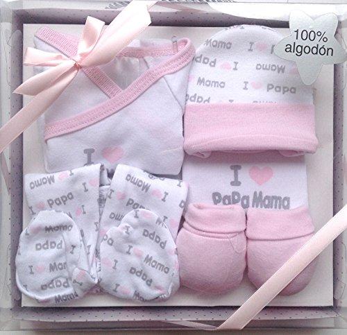 Set de regalo para bebé nacido,5 piezas,100%Algodon,color rosa,(HC Enterprise-R)