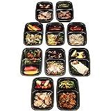Fineway @ Lot de 10barquettes alimentaires 2 ou 3 compartiments avec couvercle Micro-ondable Réutisable Sans BPA 2 COMPARTMENT