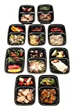 FiNeWaY@ Pack Of 10 Ready Meal Prep 2 or 3 Compartment Food Prep Containers With Lids Microwave Safe 100% Food Safe Material For Long Or Short Term Storage Reusable & Eco-Friendly Bpa Free Fda Approved (2 COMPARTMENT)