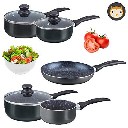 TANEL Stone-Coated Non-Stick 8-pcs Premium Cookware Set, Black