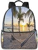 Paradise Beach con amaca e palme da cocco Horizon Coast Scenario delle vacanze, escursionismo casual Travel Daypack 12 '5' 14.5 'LWH