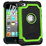 teKKno� Protective Shock Proof Stylish Dual Case Cover And LCD Guard for Apple iPod Touch 4 4G 4TH GEN / Green
