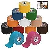 ALPIDEX Kinesiologie Tape 5 m x 5 cm E-Book Anwendungsbroschüre Elastisches Tape im Set 1, 3, 6 oder 12 Rollen, Farbe:bunt, Menge:12 Rollen