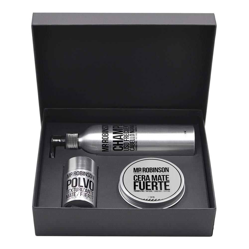 Pack regalo para hombre: champú, cera y polvos para peinado | Kit de cuidado personal para hombre Mr. Robinson Belfort…