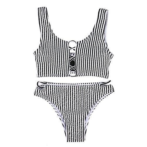 QingJiu Damen Bikini Set Bademode Push Up Gepolsterter BH Badeanzug Beachwear (L, Schwarz)