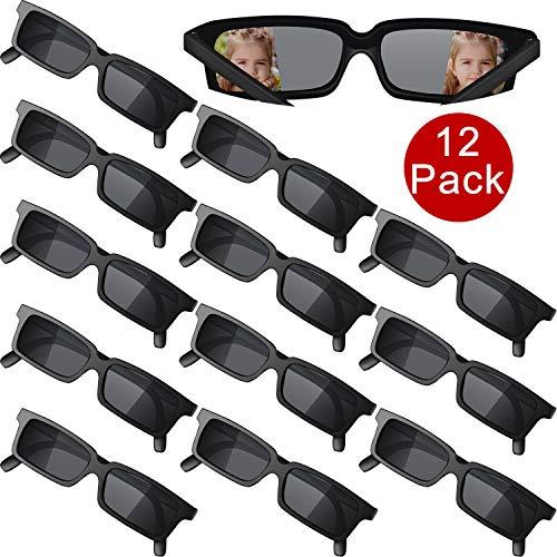 Frienda 12 Stücke Agent Brille Rückansicht Brille Lustige Kostüm Brille Zubehör für Abschlussfeiertage Geburtstagsfeier, Kinder und Erwachsene, Schwarz