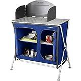 Berger Campingküche Küchenbox Pablo, blau, höhenverstellbare Füße, inkl. Windschutz und Tragetasche