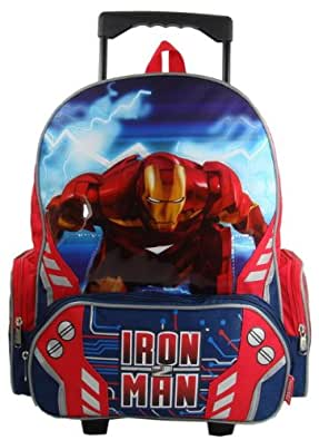 Marvel Iron Man II Large Rolling Backpack for School or Travel - Mach IV Iron Man Rolling Backpack