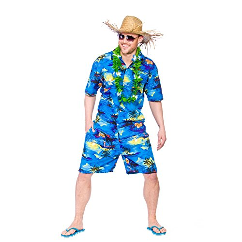 Ideen Party Kostüme B (Mens Hawaiian Party Guy Luau Summer Beach BBQ Shirt & Shorts Fancy Dress)