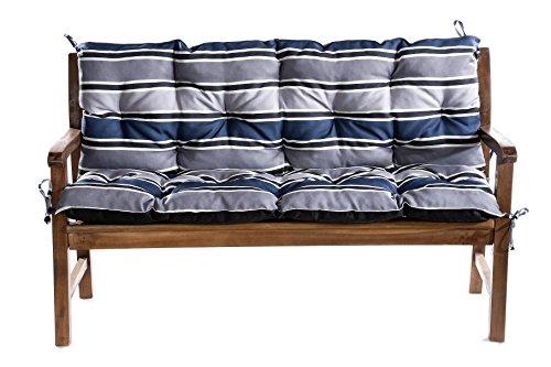BANKAUFLAGE GARTENBANKAUFLAGE AUFLAGE FÜR HOLLYWOODSCHAUKEL SITZKISSEN 120x60x50 (Blau-Grau)