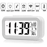 NEXUS Smart Digital Alarm Clock for Bedroom with Automatic Sensor Backlight,Date & Temperature (Black Or White)