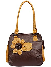 Fristo Stylish Flower 1 Women's Handbag(Brown And Tan)