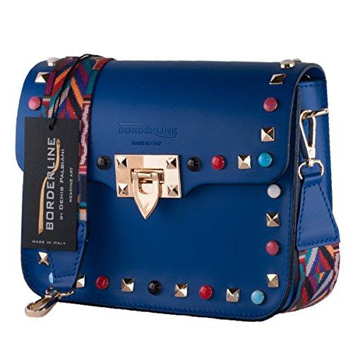 BORDERLINE - 100% Made in Italy - petit sac à main en cuir femme avec crampons et bandoulière en tissu coloré - ARIANNA Bleu électrique