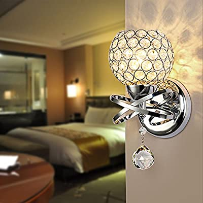 Reelva Modern Silver Chrome Crystal LED Wall Light Lamp Sconce Fixture Bedroom Hallway with E14 Socket - cheap UK light shop.