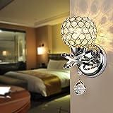 Reelva Modern Silver Chrome Crystal LED Wall Light Lamp Sconce Fixture Bedroom Hallway with E14 Socket