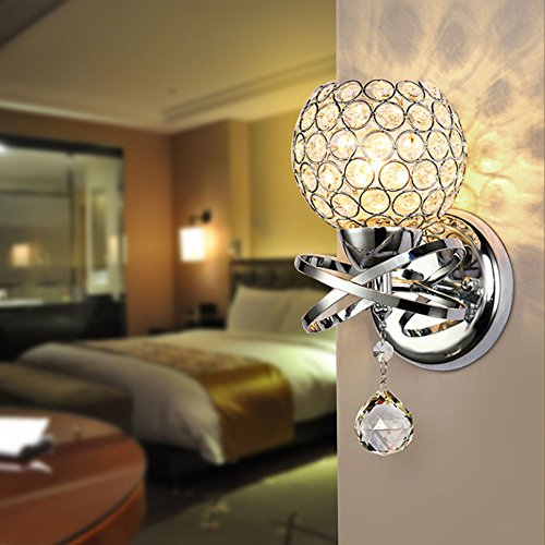 Reelva Modern Silver Chrome Crystal LED Wall Light Lamp Sconce Fixture  Bedroom Hallway With E14 Socket Part 94