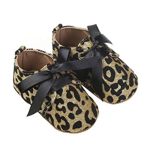 Nicholco , Baby Mädchen Lauflernschuhe Goldfarbener Leopard 6-12 Monate (Schuhe Leopard Ballet)