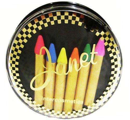 6 x UV Néon Fluorescent Brillance Visage, Rouge à lèvres & Corps Maquillage Crayon Bâtons par Janet
