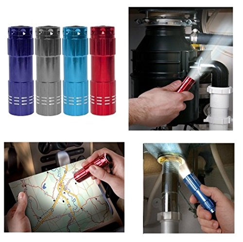Small Mini Compact 9 Cm Utility Flashlight Torch 9 X Led Home Emergency Travel Bag Size (Red)