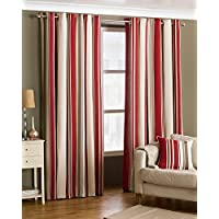 """Riva Paoletti Broadway Ringtop Eyelet Curtains (Pair) - Red, Brown and Cream - Modern Striped Design - Ready Made - Room Darkening Design - PolyCotton - 168cm width x 183cm drop (66"""" x 72"""" inches)"""