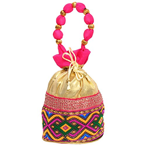 Bagaholics Ethnic Clutch Silk Potli Batwa Pouch Bag with Metal Beadwork (Pink)  available at amazon for Rs.185