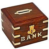 Indiabigshop Holz handgemachte Geld sparen Bank für Kinder, Squre Form Design mit Schloss Sysytem Münze Aufbewahrungsbox Größe 4,5 X 3 Zoll