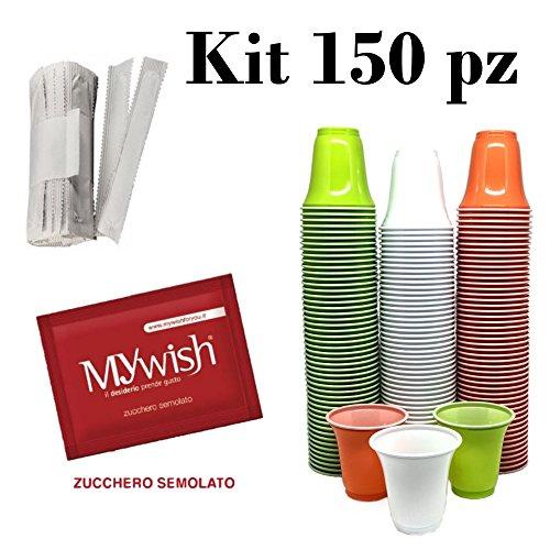 Kit Kaffee 150 Kaffeetassen, 150 Palette, 150 Beutel Zucker