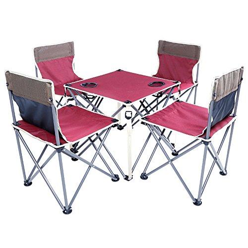 sanva 5 portable de meubles – Table pliante + 4 pièces de camping pliable, léger et résistant pliable pique-nique Camping Pêche Ensemble Chaise de table avec porte-gobelet Sac de transport pour Outdoor Camping randonnée, rouge bordeaux