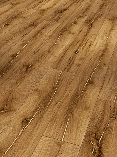 Parador Klick Laminat Bodenbelag Classic 1050 Eiche Artdéco Vanille Landhausdiele Rustikalstruktur Fuge 2,493m² hochwertige Holzoptik braun, 8 mm, einfache Verlegung (Laminat Rustikal)