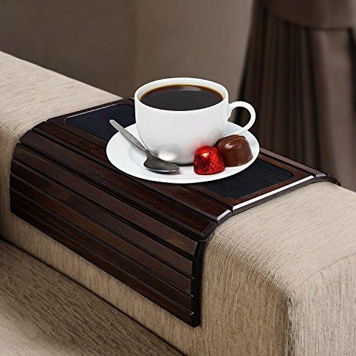 Kleeger Couchtisch mit Armlehnen, aus Holz, flexibel, tragbar und klappbar, Couch Getränkehalter