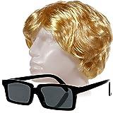 (499) Blonde Perücke + schwarze Brille Dieter Heino Schlagerstar Fasching Kostüm