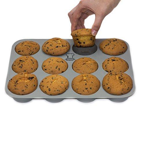 BackeFix Muffinform Silikon Muffinblech mit Antihaftwirkung – Flexibel Ohne Fett und Papier Ø 7cm, 12er