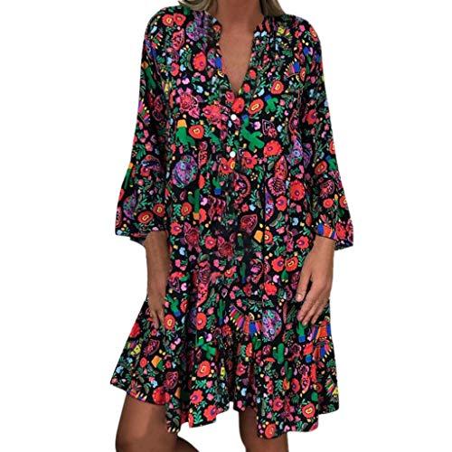 LOPILY Frauen Große Größen Blumenmuster Kleider Boho Stil Übergröße Sommerkleider Blumendruck Knielang Kleid Kurzarm Kleid Tunika Swing Kleid (Mehrfarbig, 52)