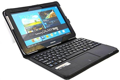 SonnyGoldTech - Samsung Galaxy Note 10.1 Tasche mit Bluetooth Tastatur und integriertem Touchpad | Galaxy Note 10.1 LTE GT-N8020 Hülle mit Tastatur und Touchpad | Galaxy Note 10.1 Wi-Fi GT-N8010 Tasche mit Tastatur und Touchpad | Galaxy Note 10.1 GT-N8000 Cover mit Bluetooth Tastatur | Layout: Deutsch |Schwarz