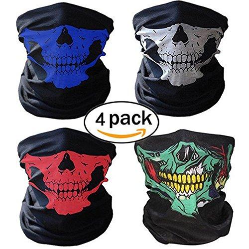 (4 Stück Motorrad Totenkopf Maske Sturmmaske Skull skelett Maske Nahtlose Half Face Skull Tube Maske für Halloween)
