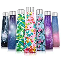 Lalafancy 450ml Stainless Steel Vacuum Flask Water Bottle, Ultimate Insulated Colorful Double Walled Drinks Flasks Bottles Sports - Keep 12 Hours Hot & 24 Hours Cold - BPA Free