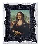 Made in Italy Mona Lisa Bild mit Barock Rahmen in Schwarz Wandbild von Leonardo da Vinci 56x46 cm Kunstdrucke Gemälde Retro Repro Antik für Home Büro Praxis Café
