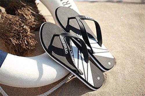 ALUK- Sommer Sandalen - Herren Charaktere ziehen die Anti-Rutsch Outdoor Sandalen Freizeit Gummi Beach Schuhe ( Farbe : Schwarz , größe : 42 ) Schwarz