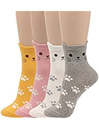 de395527c Womens Cat Socks Girls Cartoon Animal Funny Comfortable Casual Cotton  Novelty Crew Socks 4 Pack