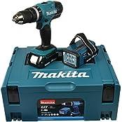 Makita DHP453RYLJ Akku-Schlagbohrschrauber inkl. MAKPAC + 2 Akkus 1.5Ah + Akku-Lampe