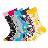 Nuovi calzini da uomo - 5Pair Comodi calzini stampati fantasia, Colorato Disegno novità Simpatico coniglio, Piuma, Fenicottero, Pecora, Modello uovo di Pasqua per uomo e donna