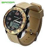 sportuhr Sanda Cuadro Doble Display Hombres Reloj Deportivo Impermeable montañismo Smart Multi Funcion de Reloj electronico Macho Men 's Watch